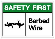 För taggtrådsymbol för säkerhet första tecken, vektorillustration som isoleras på den vita bakgrundsetiketten EPS10 stock illustrationer
