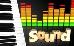 för tangent'ljud' för piano 3d tecken Arkivbild