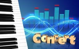för tangentkonsert för piano 3d tecken Arkivbild
