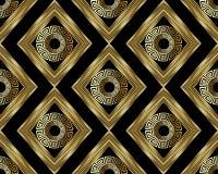 för tangentslingringar för grek 3d guld- sömlös modell Abstrakt geom för vektor stock illustrationer