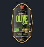 För tappningbakgrund för olivolja retro etikett Arkivfoton