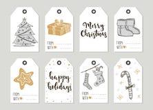 För tappninggåva för glad jul och för lyckligt nytt år kort för etiketter med kalligrafi Arkivbilder
