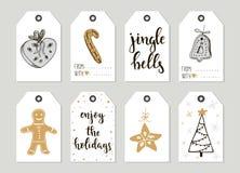 För tappninggåva för glad jul och för lyckligt nytt år kort för etiketter med kalligrafi Fotografering för Bildbyråer