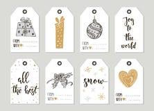 För tappninggåva för glad jul och för lyckligt nytt år kort för etiketter med kalligrafi Royaltyfria Bilder