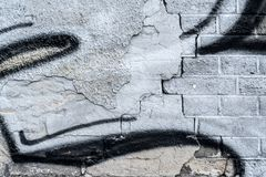 För tappninggrunge för tegelsten gammal vägg med sprickanärbildtextur Arkivfoto