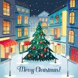 För tappninghälsning för glad jul kort med julgranen och Cityscape lyckligt nytt vykortår vinter för snow för pojkeferielay vektor illustrationer