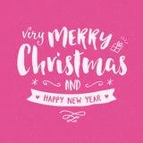 För tappninghand för glad jul kort för hälsning för teckning stock illustrationer