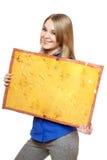 för tappningkvinna för bräde posera barn för yellow Fotografering för Bildbyråer