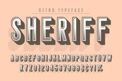 För tappningskärm för sheriff moderiktig design för stilsort, alfabet stock illustrationer