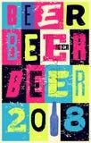 För tappningstil för öl 2018 typografisk design för affisch för grunge retro vektor för illustration Stock Illustrationer