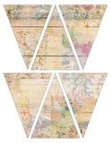 För tappningstil för DIY tryckbara flaggor för girland för bunting för baner med collaged tappningtapet- och träbakgrund stock illustrationer