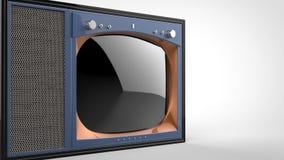 För tappningTV för den gamla skolan den purpurfärgade uppsättningen - klipp skottet royaltyfri illustrationer