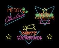 För tappninguppsättning för glad jul tecken för ljus för neon för etikett Royaltyfri Foto