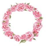 För tappningvattenfärg för hand utdragen härlig färgrik ram med blommor stock illustrationer