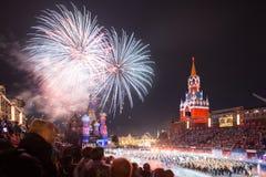 För tatueringmusik för Kreml militär festival i röd fyrkant royaltyfri foto