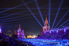 För tatueringmusik för Kreml militär festival i röd fyrkant arkivfoton