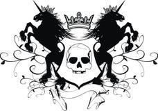 För tatueringvapen för enhörning heraldiskt emblem vektor illustrationer
