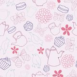 För Tea Party för rosa trädgård för vektor bakgrund sömlös modell royaltyfri illustrationer