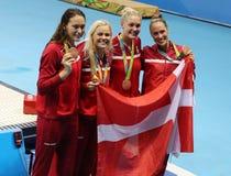 För Team Denmark Women för bronsmedaljörer relä för medley ` s 4 100m på Rio de Janeiro 2016 OS:er Royaltyfria Foton