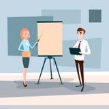 För Team With Flip Chart Seminar för affärsfolk presentation för idékläckning för konferens utbildning royaltyfri illustrationer