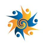 För teamwork för affärsfolk swirly logo Arkivfoton