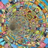 för technotegelplatta för fragment 3d rör för tunnel i åtskillig färg Royaltyfri Bild