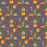 För teckenaktör för clown som gullig makeup för skådespelare för karneval jonglerar den mänskliga sömlösa illustrationen för mode royaltyfri illustrationer