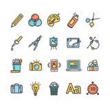 För teckenfärg för grafisk design tunn linje symbolsuppsättning vektor Royaltyfria Foton