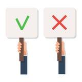 För teckenkontroll för hand hållande fläck och kors royaltyfri illustrationer