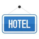 För teckenlägenhet för hotell som blå symbol isoleras på vit Arkivbild