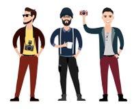 För teckenlägenheten för unga män uppsättningen i olikt poserar Arkivbild