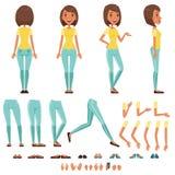För teckenskapelsen för den unga kvinnan uppsättningen, flicka med olika sikter, frisyrer, poserar och gör en gest tecknad filmve royaltyfri illustrationer