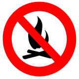 för teckensymbol för förbud brand isolerad rund white Arkivfoton