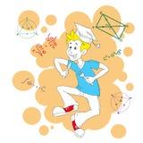 För teckenvektor för student rolig illustration Royaltyfri Fotografi