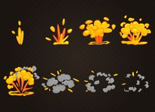 För tecknad filmbang för vektor främre effekt för explosion med rök vektor illustrationer