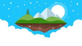för tecknad filmbegreppet för konst 3d ön framför Berg, gran, sol och moln stock illustrationer
