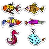 för tecknad filmbegreppet för konst 3d fisken framför vektor illustrationer