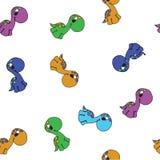För tecknad filmdinosaurie för vektor sömlös gullig grafisk modell Barndomdesign Royaltyfria Bilder
