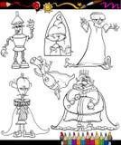 För tecknad filmfärgläggning för fantasi fastställd bok Arkivfoton