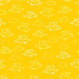 För tecknad filmfåglar för vektor gul modell för repetition Passande för gåvasjal, textil och tapet royaltyfri illustrationer