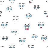 För tecknad filmsmileys för vektor sömlös modell för framsidor Roliga isolerade avatarsinnesrörelser vektor illustrationer