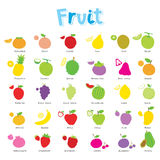För tecknad filmsymbol för frukt gullig vektor för design Arkivbild