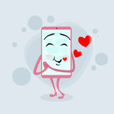 För tecknad filmtecken för smart mobiltelefon röd rosa förälskelse Royaltyfri Fotografi