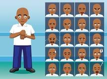 För tecknad filmtecken för handikapp döva framsidor för sinnesrörelse Arkivbild