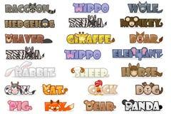 För tecknad filmtext för stor uppsättning gulliga djur för namn, rolig stilsort stock illustrationer