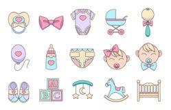För tecknad filmvektor för hand ställer behandla som ett barn utdragna symboler in för att skapa infographicsen släkt barn och, s royaltyfri illustrationer
