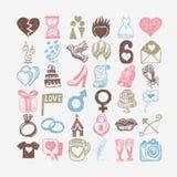 för teckningsklotter för 36 hand uppsättning för symbol, knapphändig illustration för bröllop Royaltyfri Bild