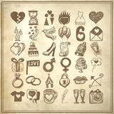 för teckningsklotter för 36 hand uppsättning för symbol, knapphändigt bröllop Royaltyfri Bild