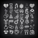 för teckningsklotter för 36 hand uppsättning för symbol, knapphändigt bröllop vektor illustrationer