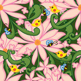 För teckningsvirvel för blomma sömlös modell för rosa för gräsplan fågel för bi Fotografering för Bildbyråer